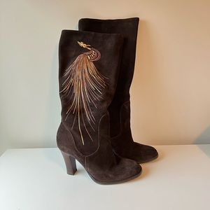 Bos & Co women's brown suede tall boots size 36